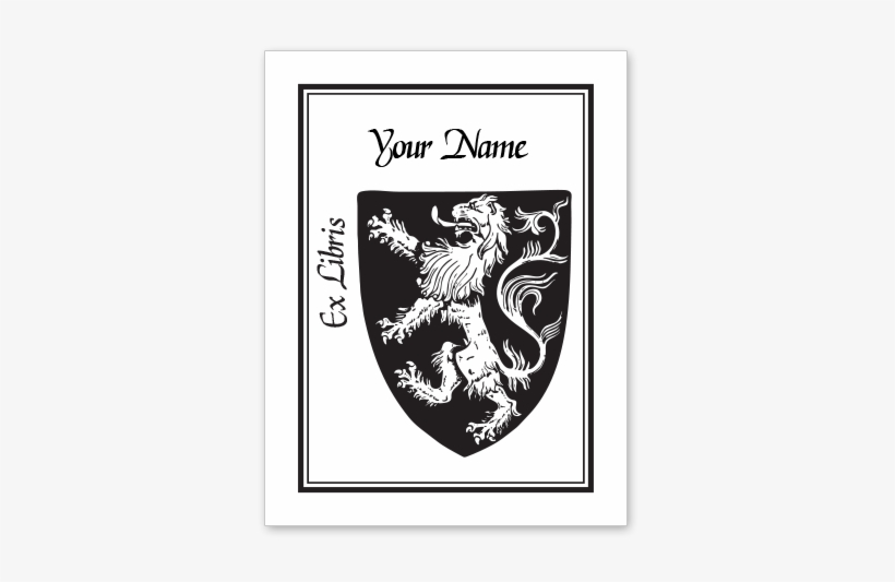 Rampant Lion Bookplate • Ex Libris Your Name • White - Complete Guide To Heraldry By Arthur Charles Fox-davies, transparent png #2388878
