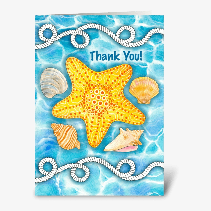Thank You For A Lovely Time Greeting Card - Nautical Rope, Sea Shells And Starfish Thank You Card, transparent png #2393489