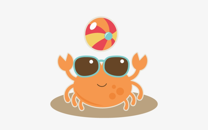 Crab With Beach Ball Svg Cut File For Scrapbooking - Beach Clip Art Free, transparent png #243448