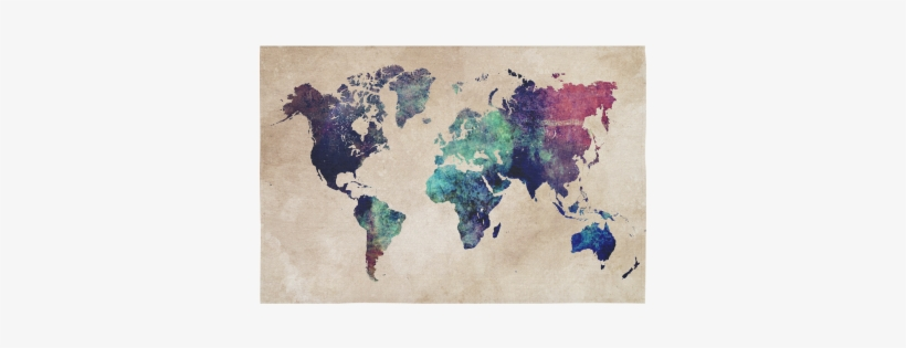 World Map Cotton Linen Wall Tapestry - Cold World Map Canvas Print - Small By Jbjart, transparent png #245652