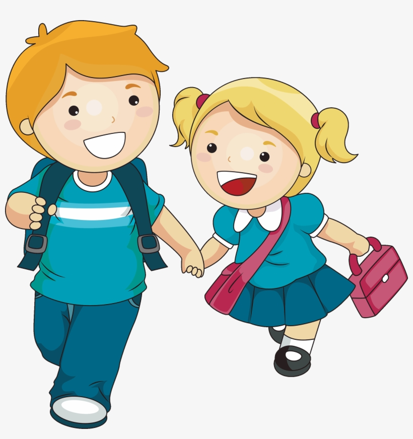 School Children Clipart Png - Brother And Sister Cartoon, transparent png #247211
