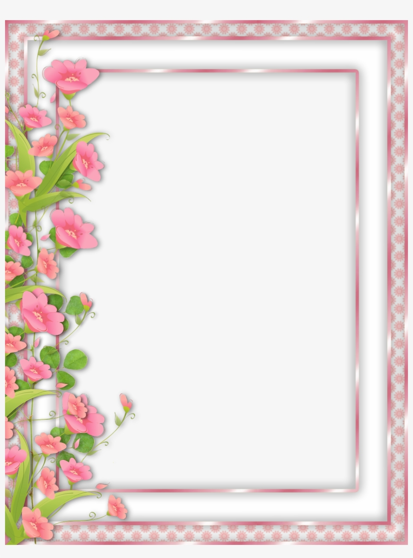 Pink Transparent With Flowers - Pink Flower Frames And Borders Png, transparent png #249849