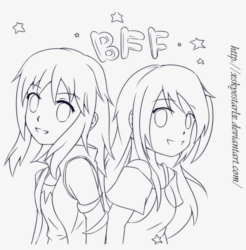 Bff Anime Colouring Pages - Bff Best Friends Drawing Anime - Free ...