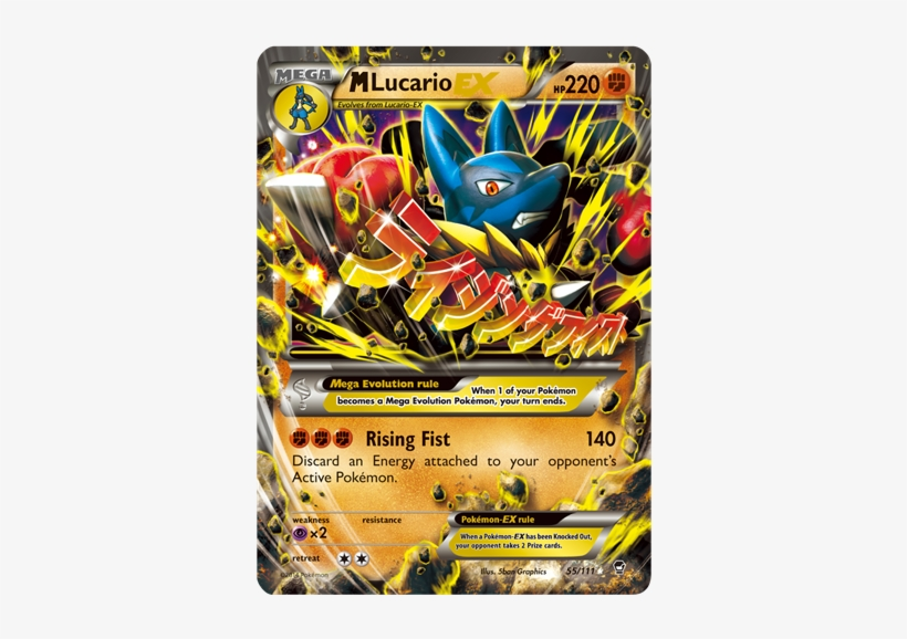 Containing More Than 110 New Cards, Xy Furious Firsts - Lucario Mega Evolution Card, transparent png #2421155