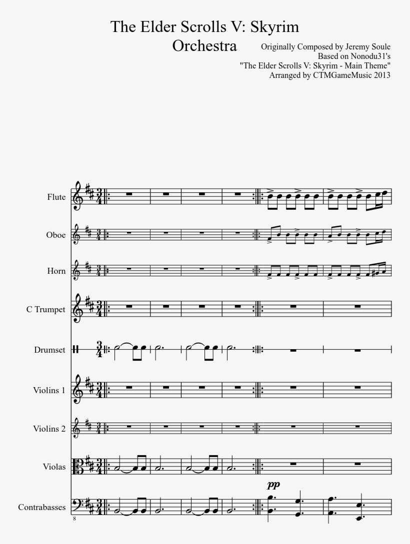The Elder Scrolls V - Elder Scrolls Theme Sheet Music Trumpet, transparent png #2439041