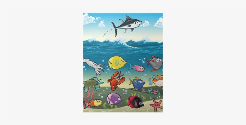 Funny Fish Under The Sea - Sea Life Fish Cute Shower Curtain, transparent png #2444779