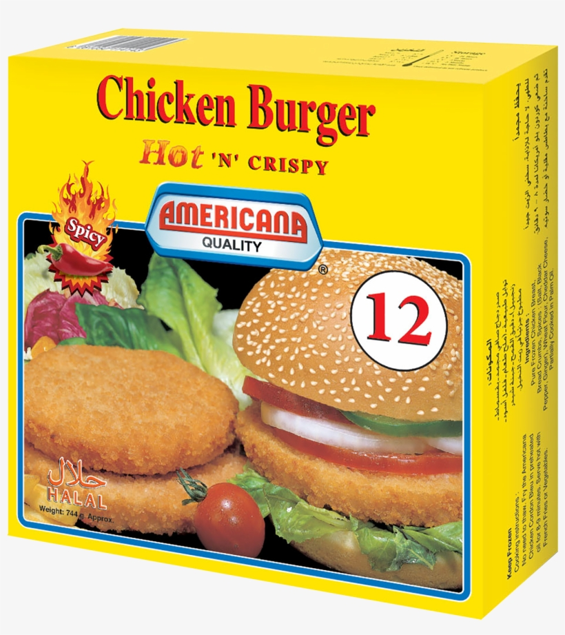 370158 Chicken Burger Spicy 12pcs 744g Eng - Chicken Sandwich, transparent png #2445779