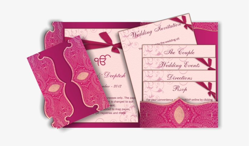 Pocket Style Indian Wedding Invitation Card Design - Wedding Invitation Pink Design Card, transparent png #2446537