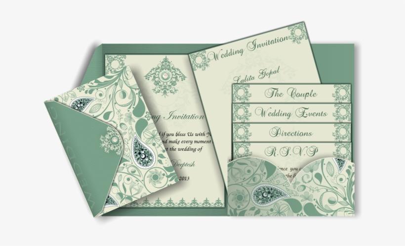 Pocket Style Indian Wedding Invitation Card Design - Multi Card Wedding Invitation, transparent png #2446577