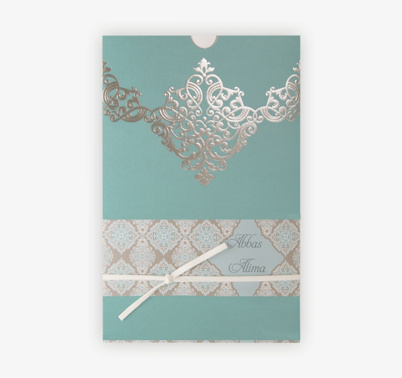 Muslim & Indian Wedding Invitation - Turquoise Silver And White Wedding Invitations, transparent png #2446697