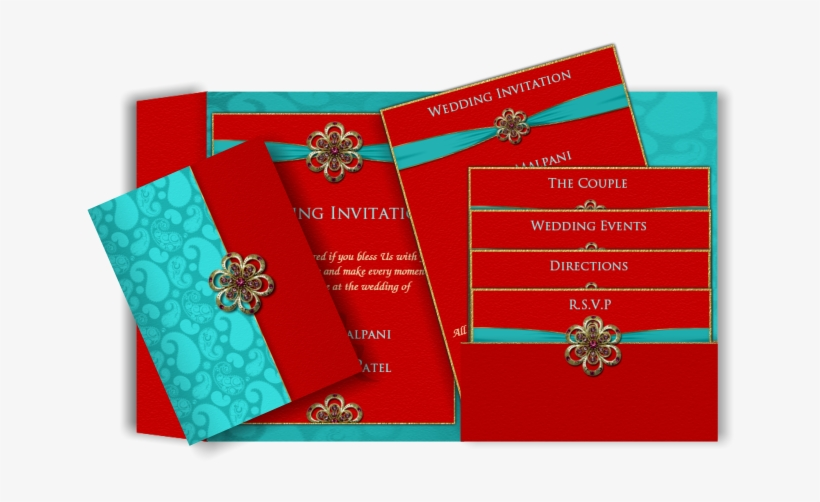 Modern Indian Email Wedding Invitation In Red & Turquoise - Red And Turquoise Blue Wedding Invitation Cards, transparent png #2446736