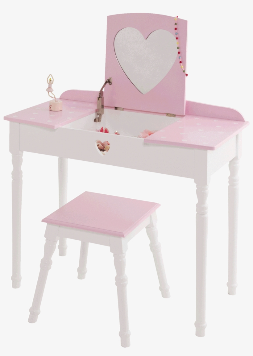 Sweetheart Dressing Table & Stool Set, Pink & White - Sweetheart Dressing Table & Stool Set - Pink, transparent png #2453327