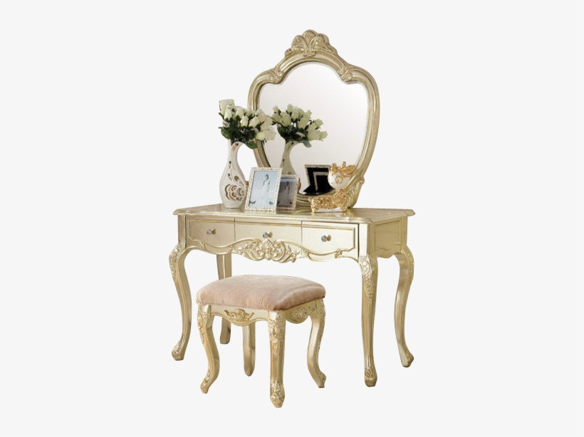 Alluring Gold Vanity Table With French Dressing Table - Dressing Table Designs Png, transparent png #2453375