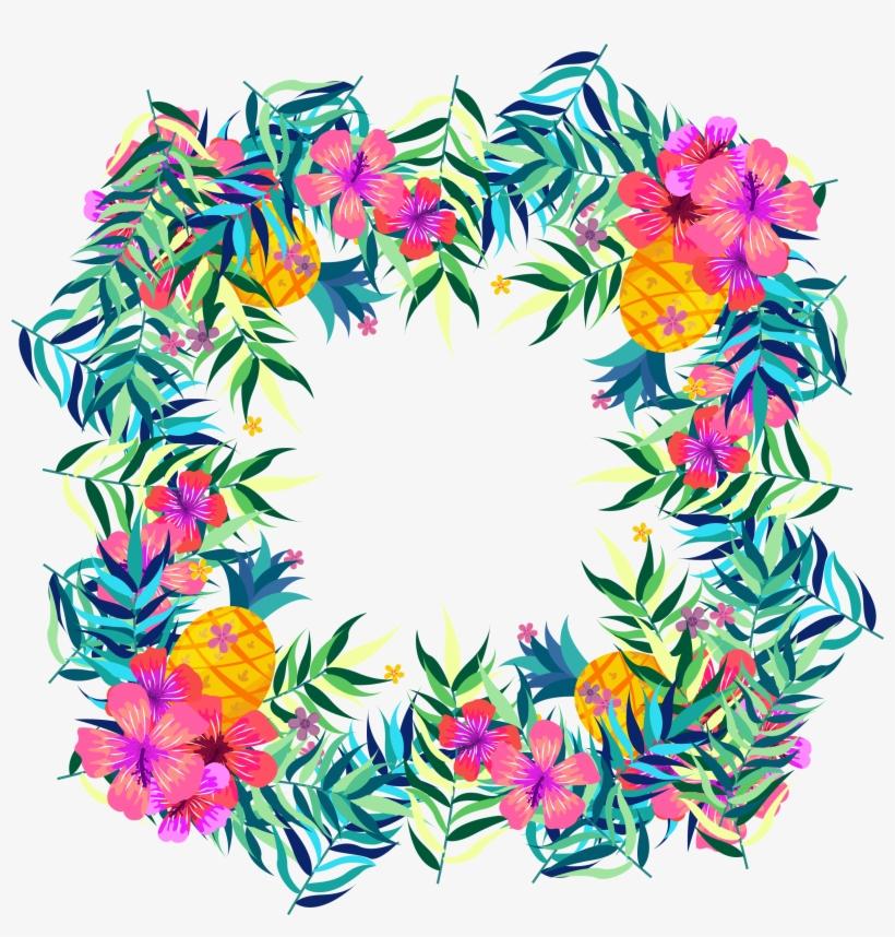 Flower Tropics Fruit Clip Art - Tropical Flowers Clipart Png, transparent png #2459159