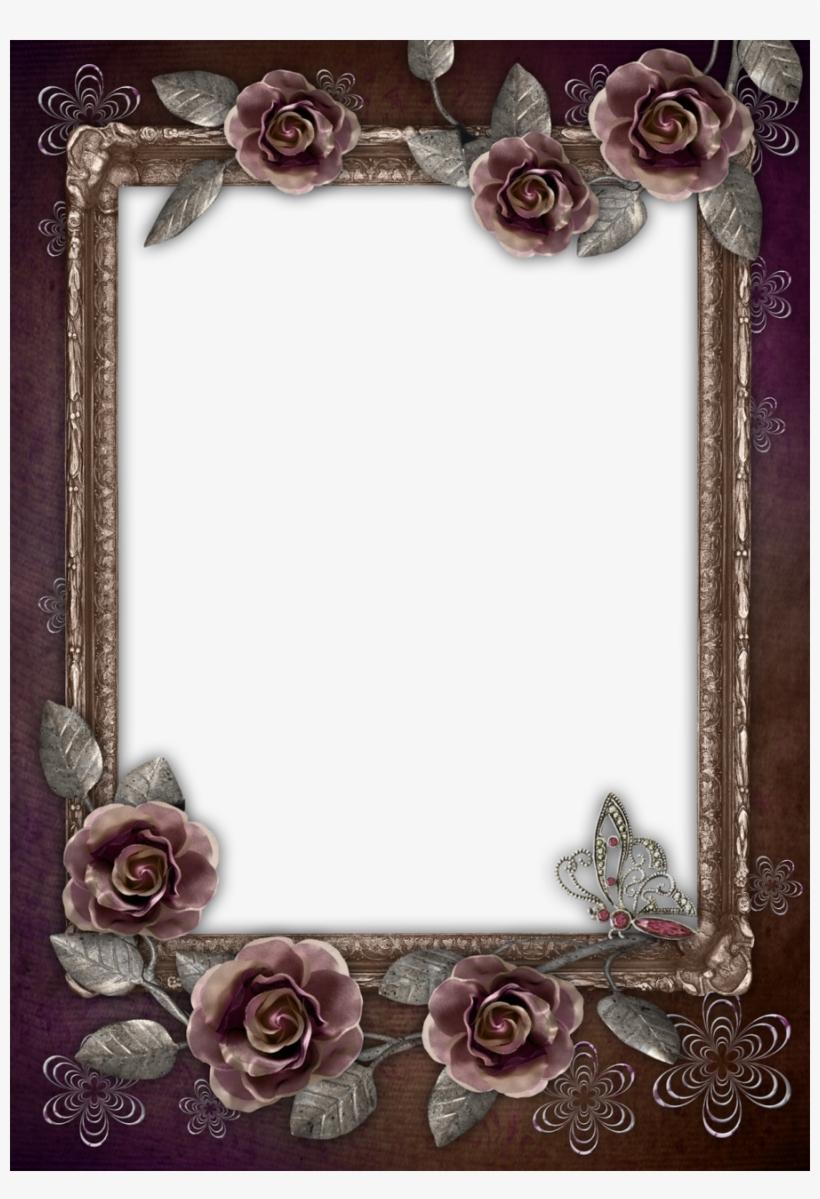 Download Portrait Frame Photoshop Clipart Borders And - Brown Flower Photo Frames, transparent png #2464509