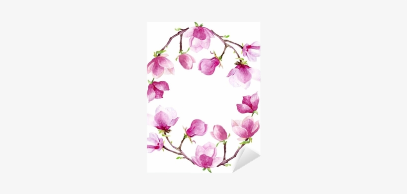 Magnolia Watercolor Wreath Floral Frame Border Wedding - Bridal Shower Clipart Floral, transparent png #2475479