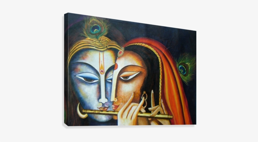 Radha Krishna Canvas Print - Acrylic Painting On Canvas Board Of Krishna, transparent png #2475567