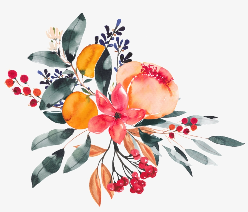 Colorful Hand Drawn Flowers Leaves Bouquet Watercolor - Watercolor Painting, transparent png #2484101