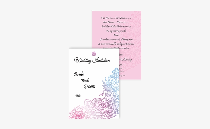 Pink Floral Wedding Card Invitation Card - Wedding Invitation Card Design, transparent png #2487879
