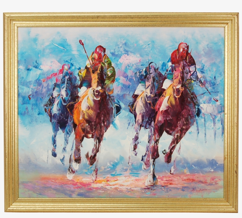 Modern Painting New Vintage Mid Century Modern Abstract - Horse Race Oil Painting, transparent png #2488808