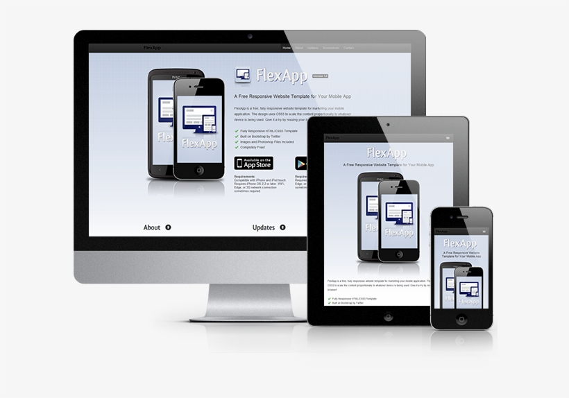 Flexapp Is A Fully Responsive Html/css Template Perfect - Responsive Web Psd, transparent png #2493602