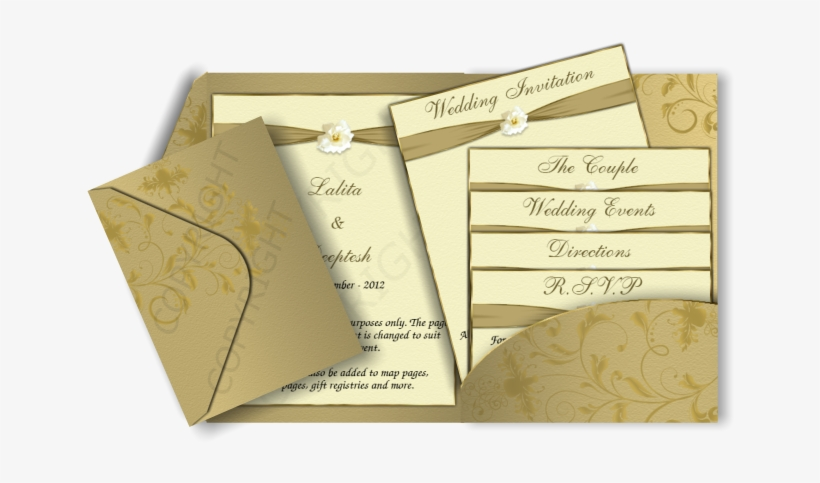 Gold & Cream Color Pocketfold Email Wedding Invitation - Gold Colour Wedding Invitation Card, transparent png #2494696