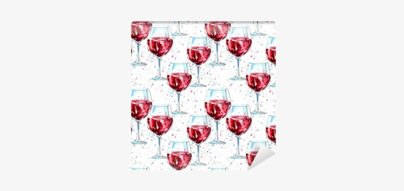Seamless Pattern Of A Glass Red Wine And Splash - Alcoholic Drink, transparent png #2495181