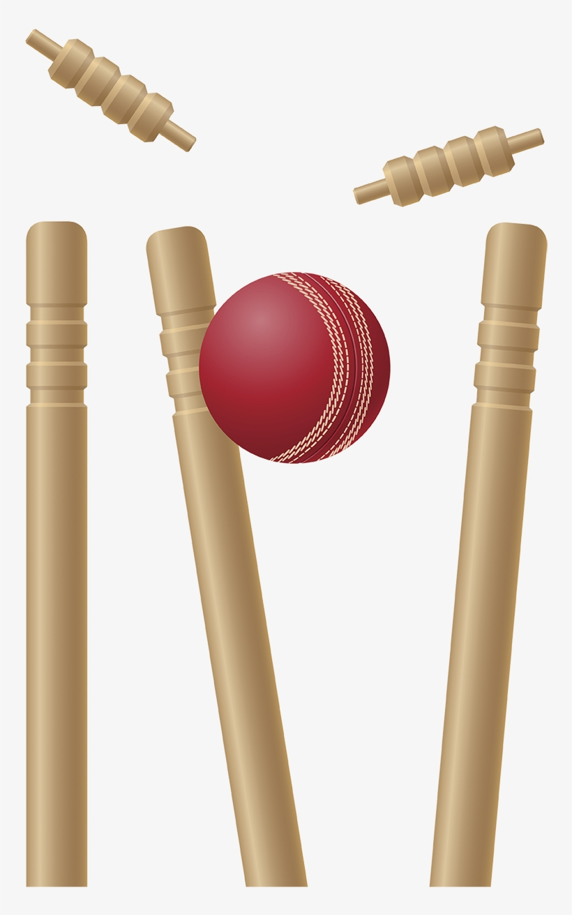 Cricket Stumps Png Pic - Cricket Bat And Ball And Wickets, transparent png #2496492