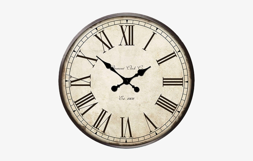 Hanging Rounded Antique Clock - Battery Powered Steel Wall Clock, Wall Clocks, transparent png #2498993