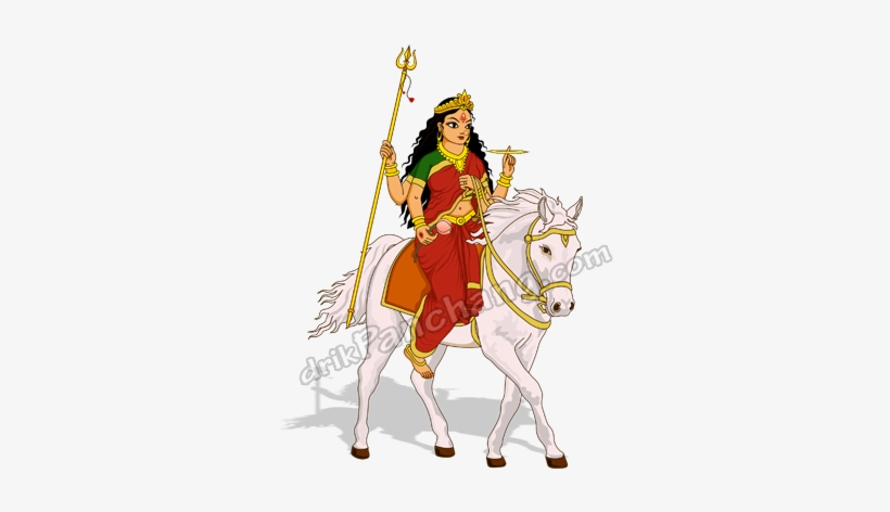 Durga Arrival On Horse - Maa Durga Coming On Horse, transparent png #250496