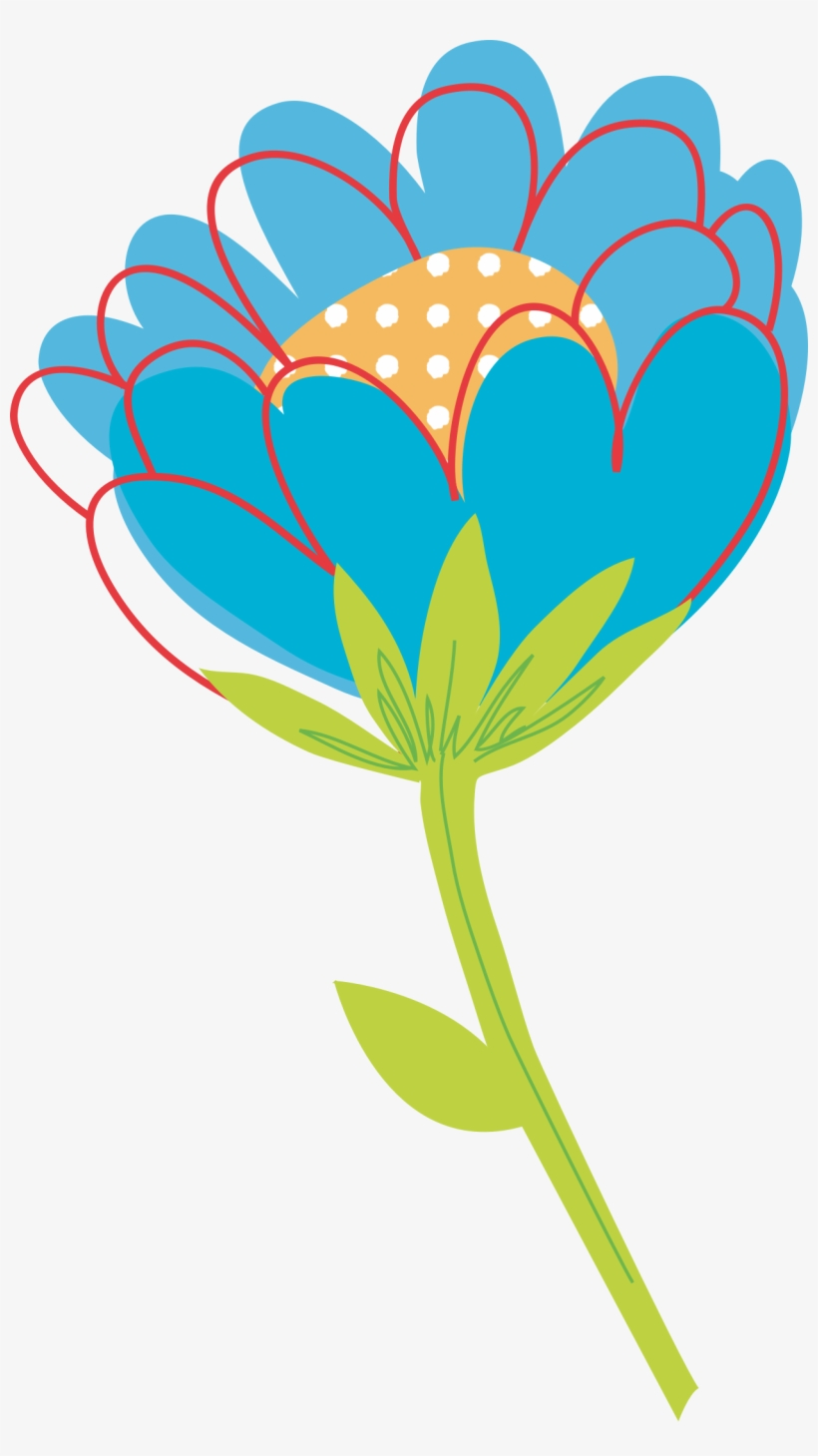 Blue Flower Clipart Big Flower - Flower Vector Png Png, transparent png #251221