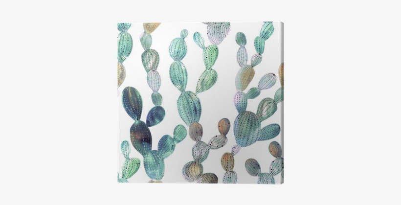 Cactus Pattern In Watercolor Style Canvas Print • Pixers® - Fondos De Pantalla De Captu, transparent png #257772