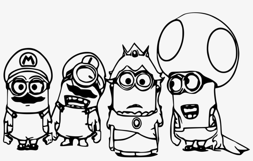 Four Minion Mario Coloring - Super Mario Coloring Pages - Free ...