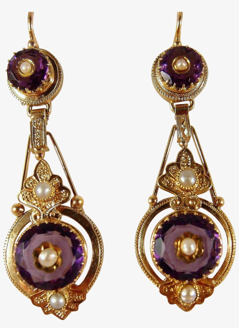 Sold Etruscan Revival Victorian Era Dangling Earrings - Victorian Jewelry Png, transparent png #2502905