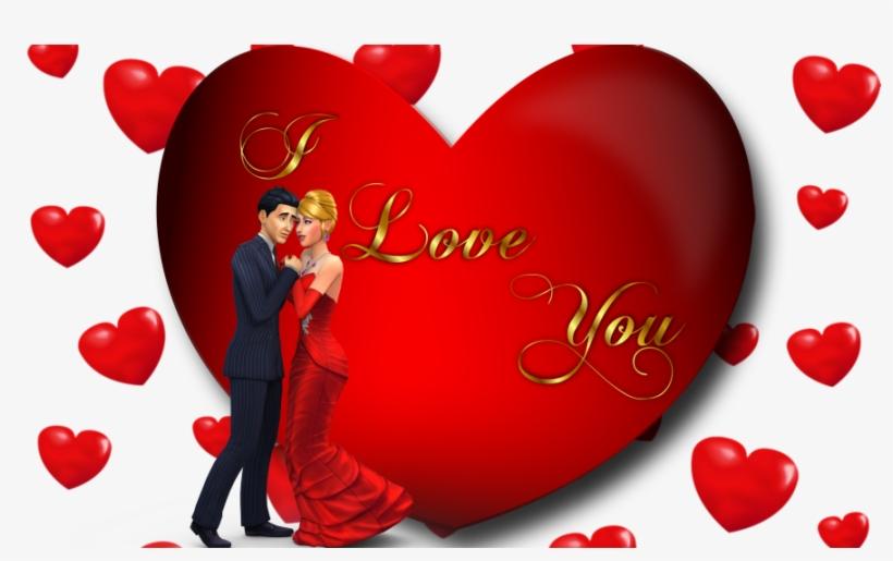 I Love You Loving Couple Red Heart Desktop Hd Wallpaper - Love U Photos Download, transparent png #2504531