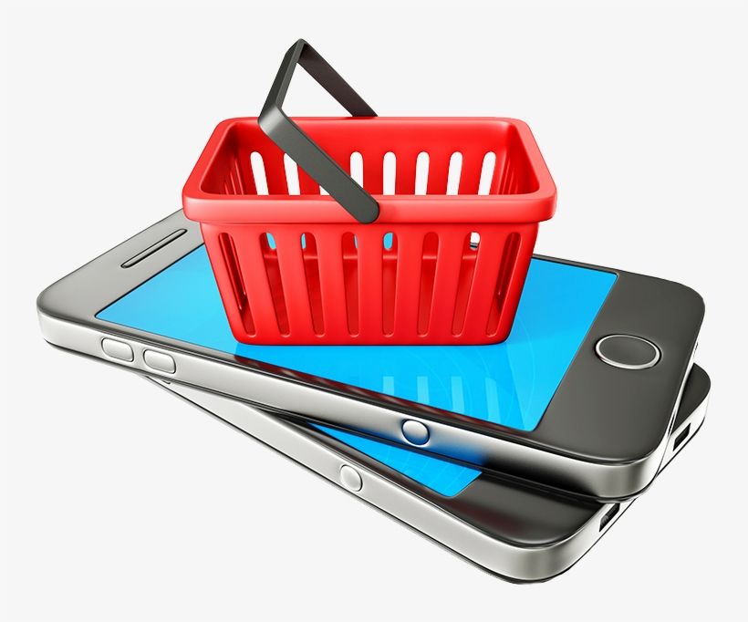 Shopping Basket Sitting On Phone - Online Shopping Png Transparent, transparent png #2510679