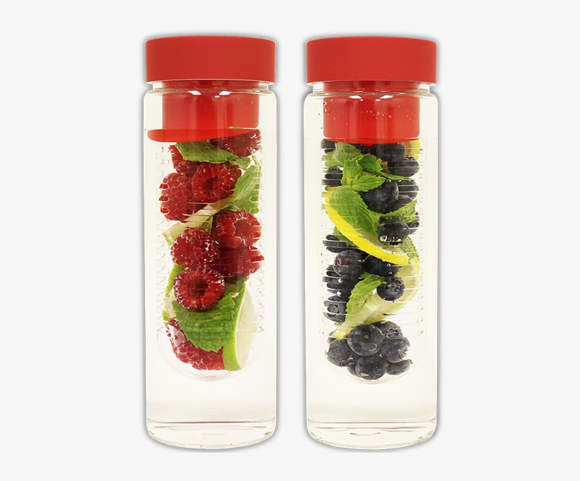 Fruit Infuser Glass Water Bottle [double Pack Special] - Glass Bottle, transparent png #2517800