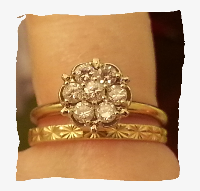 Both Are Larger Than My Engagement Diamond Which Is - Vintage Cluster Wedding Set Rings, transparent png #2522491