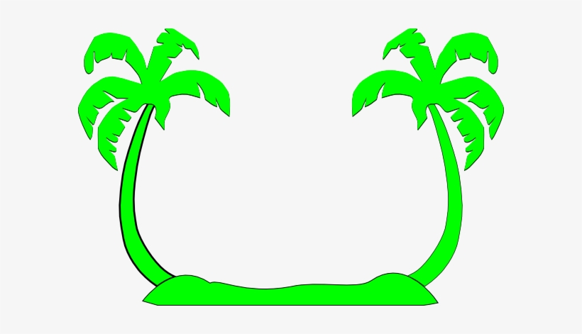 Palm Tree Clipart Double - Beach Silhouette Clip Art, transparent png #2526298