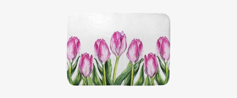 Watercolor Pink Tulip Flower Nature Border Frame Bath - Watercolor Painting, transparent png #2526982