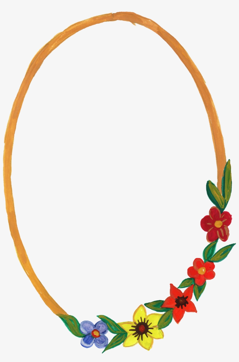 10 Watercolor Oval Frame With Flowers - Oval Photo Frames Png, transparent png #2526987