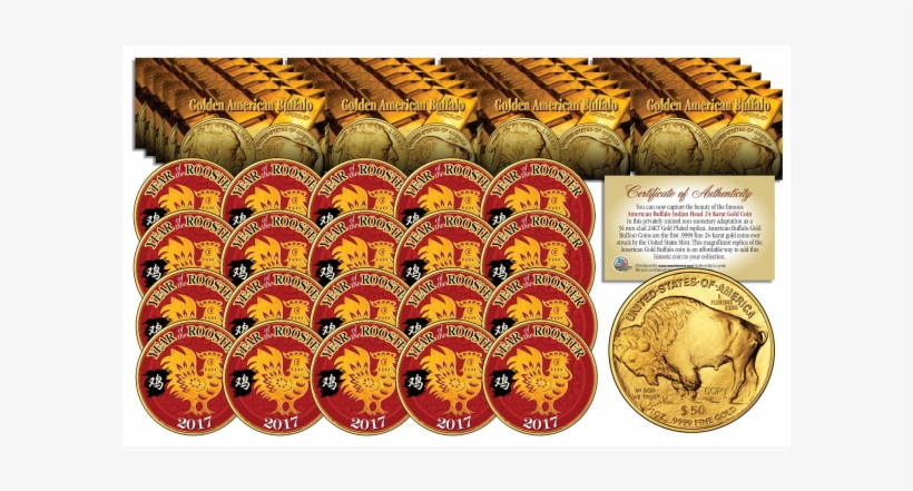 2017 Chinese New Year * Year Of The Rooster * 24 Karat - Wy-gold Indian/buffalo Note Cards (pk, transparent png #2529162