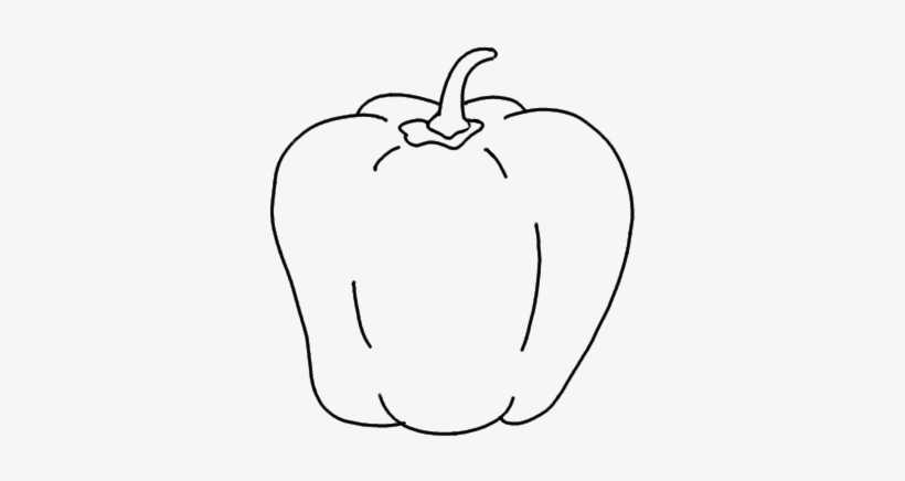 How To Draw A Capsicum - Capcicum Drawing For Kid, transparent png #2535074