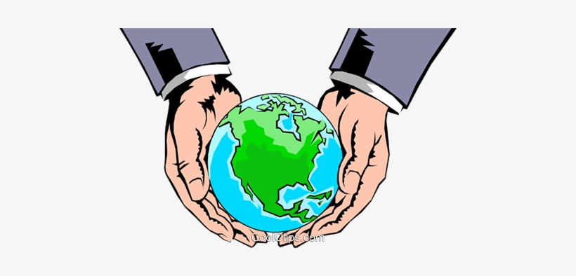 Hands Holding Globe Royalty Free Vector Clip Art Illustration - Hands Holding The World Clipart, transparent png #2535803