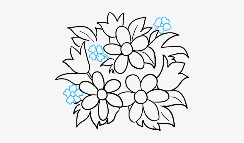 How To Draw Flower Bouquet - Drawing, transparent png #2535866