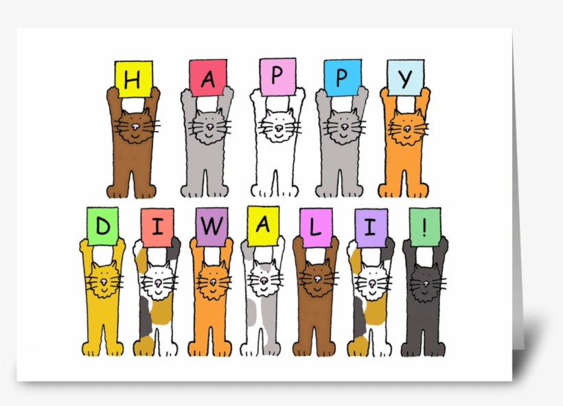Happy Diwali Cats Greeting Card - Happy Diwali With Fun Cats. Card, transparent png #2542052