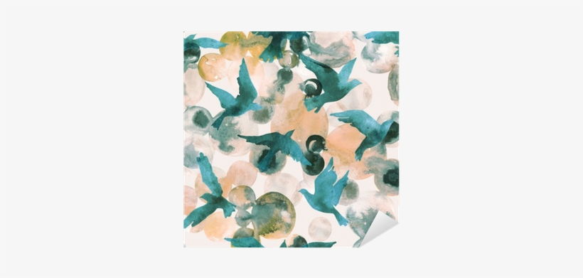 Abstract Watercolor Circles And Flying Birds Seamless - Watercolor Painting, transparent png #2549614