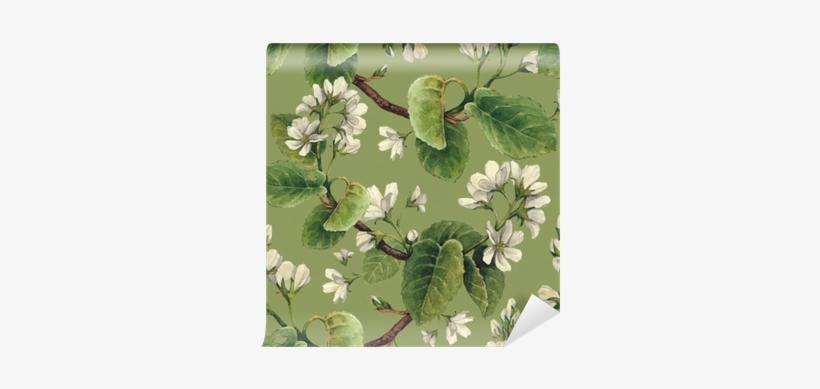 Vintage Seamless Pattern With Watercolor Apple Flowers - Watercolor Painting, transparent png #2552346