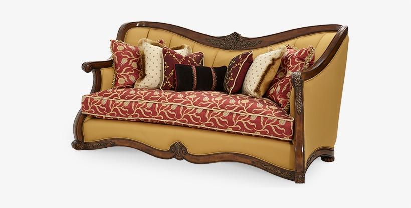 Oppulente Wood Trim Channel Back Sofa Opt1 Wooden Sofa Set Png
