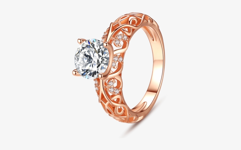 Round Cut Stone Rose Gold Engagement Ring - Rose Gold Engagement Ring Gemstone, transparent png #2553552